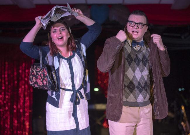 Liz Colandene (left) as Janet Weiss and Zack Walsh (right) as Brad Majors. Photo: Rachel Zirkin Duda