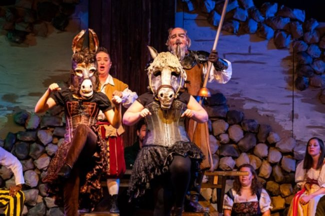 (L to R) Hope Standish-Pallanck as Sancho's Horse, Annmarie Pallanck as Sancho, Maggie Flannigan as Quixote's Horse, and Lance Bankerd as Don Quixote. Photo: Stasia Steuart Photography
