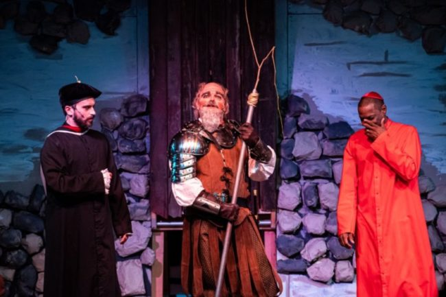 Henry Cyr (left) as Dr. Carrasco with Lance Bankerd (center) as Don Quixote and Timoth David Copney-Welton (right) as Padre. Photo: Stasia Steuart Photography