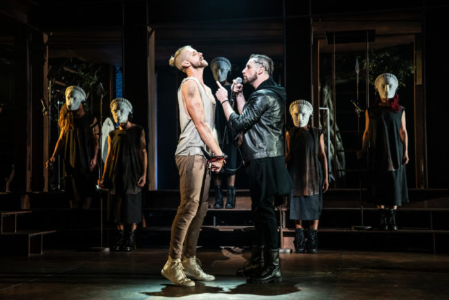 Aaron Lavigne (left) as Jesus and Tommy Sherlock (right) as Pilate and the company of the North American Tour of Jesus Christ Superstar. Photo: Matthew Murphy