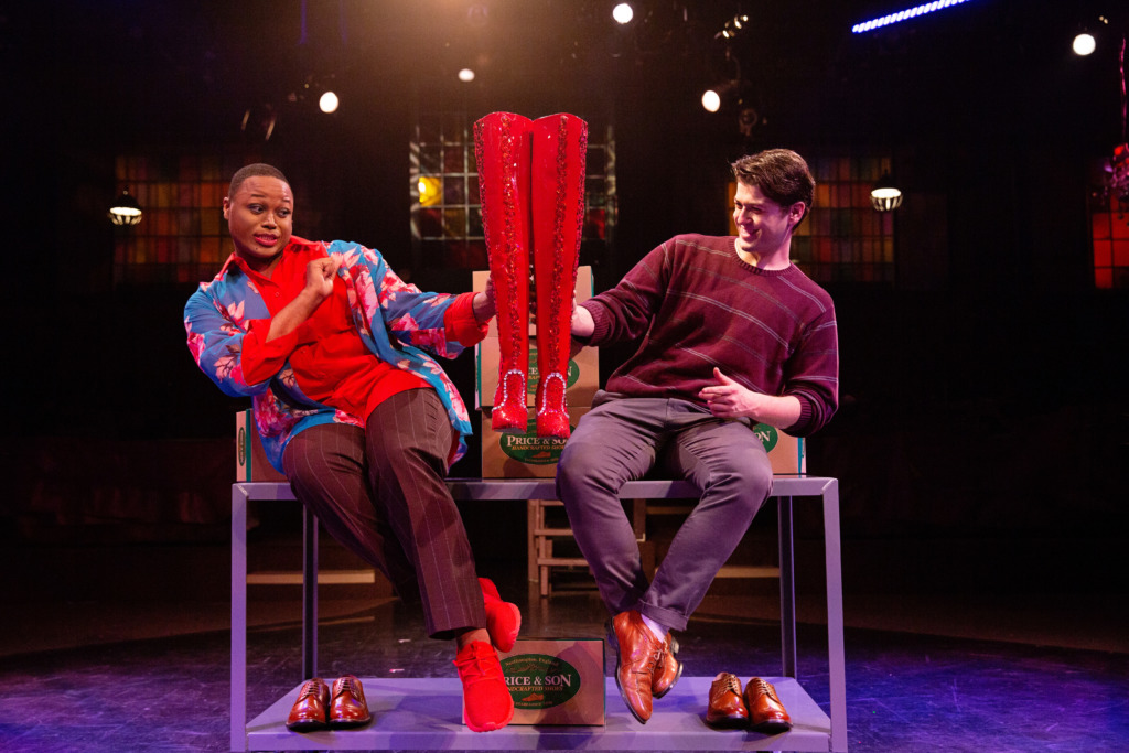 DeCarlo Raspberry (left) as Lola and Matt Hirsh (right) as Charlie Price in Kinky Boots. Photo: Jeri Tidwell Photography