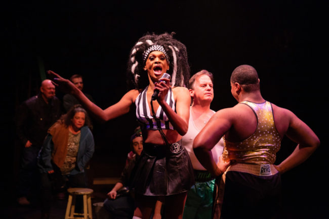 Michael Mattocks (left) as Referee Angel Bubblezz with Russell Sunday (center) as Don and DeCarlo Raspberry (right) as Lola in Kinky Boots. Photo: Jeri Tidwell Photography