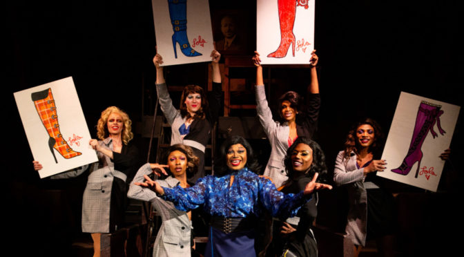 DeCarlo Raspberry (center in blue) as Lola and The Angels in Kinky Boots. Photo: Jeri Tidwell Photography