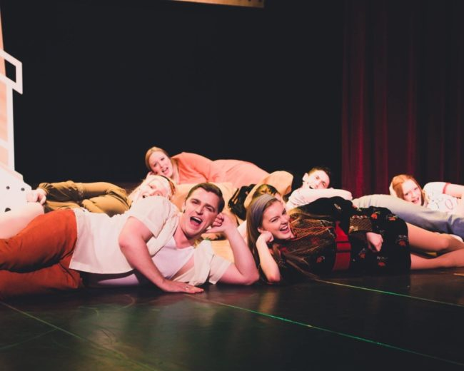 James Downing (left) as Eddie Arch and Summer Grove (right) as Leia and the cast of Loserville. Photo: Stephanie Zacharia Hatmaker