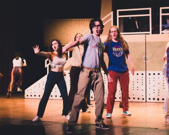 Jake Schwartz (center) as Michael Dork and the cast of Loserville. Photo: Stephanie Zacharia Hatmaker