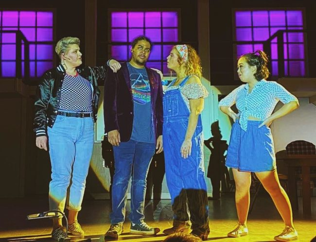 (L to ) Jamie White as Urlene, Eric Bray Jr., as Ren, Mia Coulbourne as Rusty, and Katie Pendergast as Wendy Jo in Footloose.