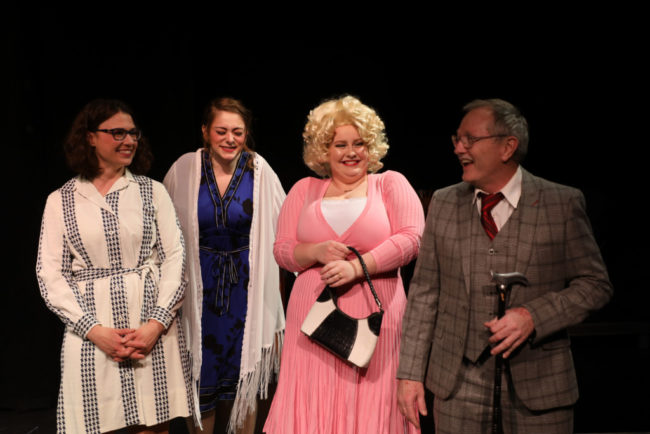 (L to R) Erin Cassell as Violet, Jenna Sharples as Judy, Sarah Burrall as Doralee, and Ed Higgins as Tinsworthy in 9 To 5. Shealyn Jae Photography