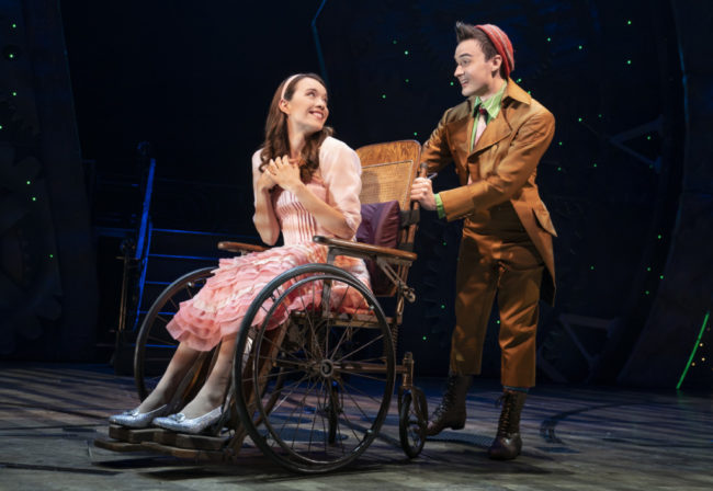 Amanda Fallon Smith (left) as Nessarose and DJ Plunkett (right) as Boq in Wicked. Photo: Joan Marcus