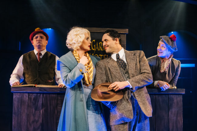 (L to R) Christopher Walker, Patricia Hurley, Drew Kopas, Gwen Grastorf in The 39 Steps. Photo: Cameron Whitman Photography