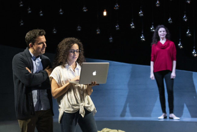 Alexander Strain (left) as Abe, Kathryn Tkel (center) as Sophie, and Tessa Klein (right) as Julia in The Wanderers at Theater J. Photo: Teresa Castracane