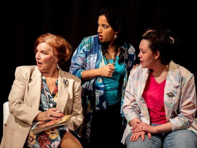 (L to R) Nina Harris as Clairee, Divya Pereira as Truvy, and Rachel Heney as Shelby in Steel Magnolias.